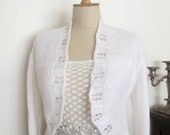 White bridal Shrug Boleros  Jacket Cardigan  3/4 sleeve Wedding  Shawl Wrap Capelet