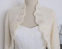 Plus Size Boleros, Bridal Bolero, Wedding Bolero, Wedding Jacket, Bridal Sweater, Bridal Cardigan, Wedding Sweater,  3/4 sleeve Knit Swater,
