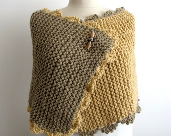 Knitting Hand Knitted Capelet,  Wrap  Two Sided Tan Beige