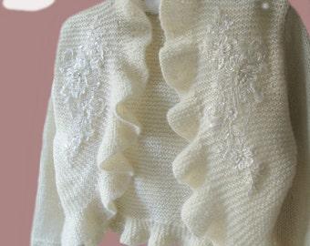 Plus Size Bridal Bolero Shrug Ruffle 3/4 sleeve MADE TO ORDER