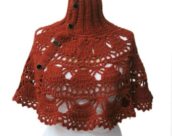 Crochet  Turtleneck Capelet  Poncho Neckwarmer Hand Knitted Neck Red Expedited Shipping