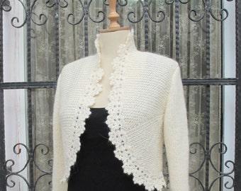 PLUS SIZE Bridal Bolero Jacket Hand Knit Ivory Sweater Knitting Knitted Cardigan Crochet Border 3/4 Sleeve Shrug Wool Cardigan