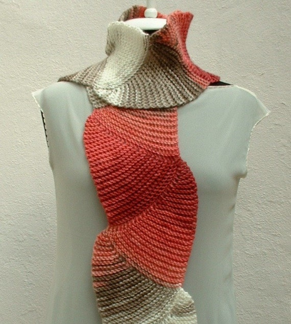 Wavy Pink Gray White Hand Knit Knitting Scarf by crochetbutterfly