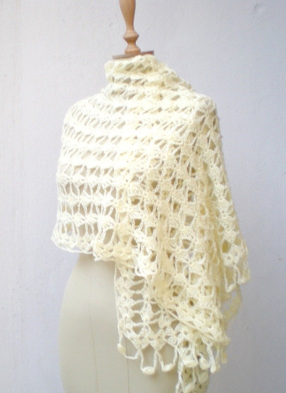 Ivory Hand Crochet Shawl Bridal Wrap Wedding By