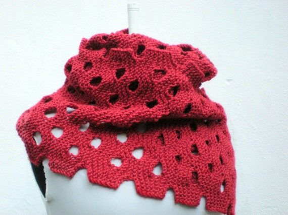 Christmas Scarf Knitting Hand Knitted Wool Scarves  Red  Shawl