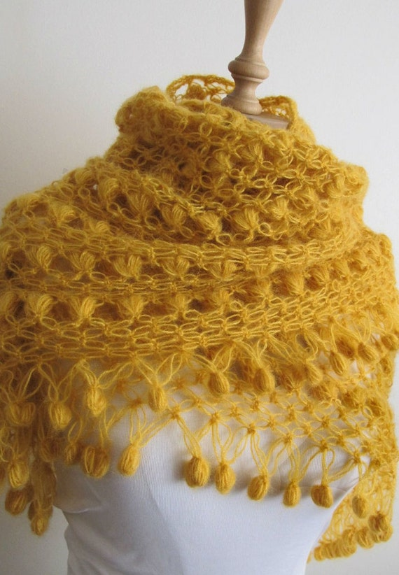 ON SALE Crochet Scarf Hand Crocheted Mohair Shawl Scarves  Neckwarmer Yellow