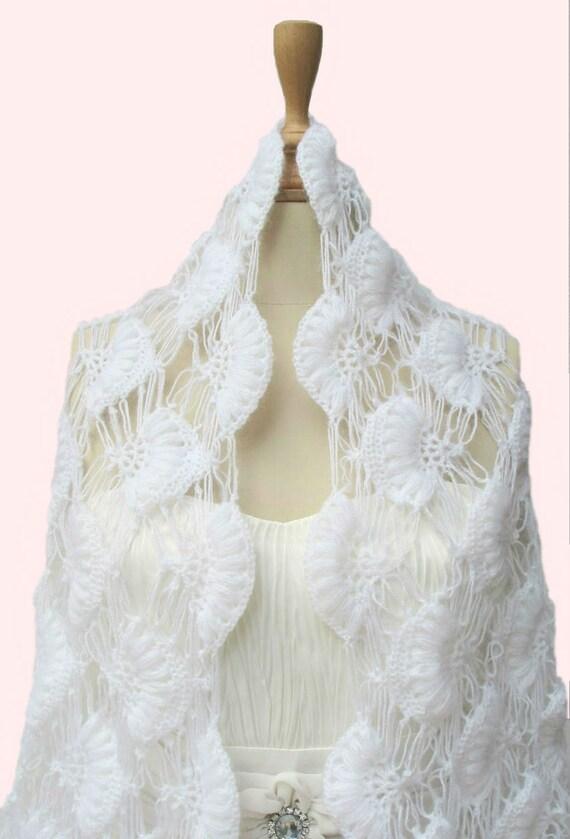 White Wedding Shawl, Bridal Crochet Shawl, Wedding  Shoulder Wrap, Wedding Wool Shawl, Bridal Shrug, Wedding Crochet Shawl, White Wraps