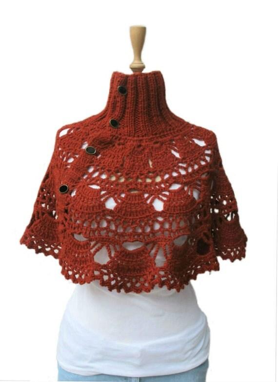 Knitting Pattern Turtleneck Capelet : Items similar to Crochet Turtleneck Capelet Poncho Neckwarmer Hand Knitted Ne...