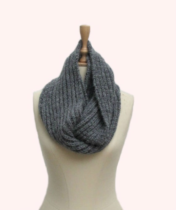 Hand  Knitted Knit  Infinity Scarf grey