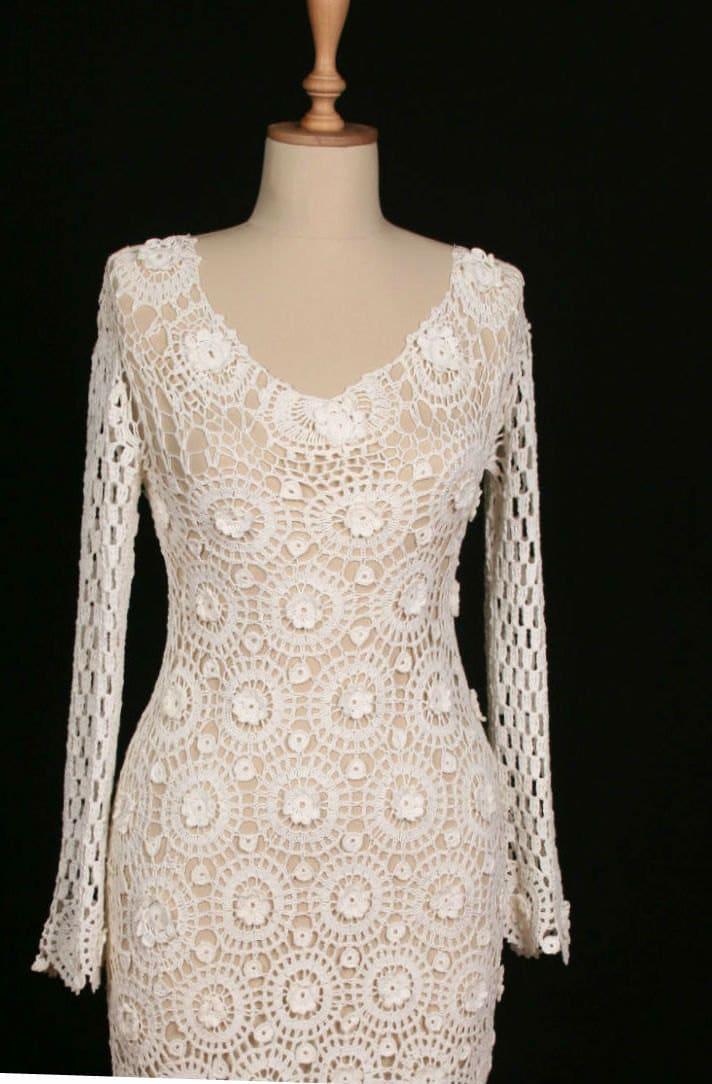 Hand crocheted crochet wedding dress bridal by for Crochet wedding dresses for sale