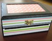 SALE-- Striped Ribbon Box, Small