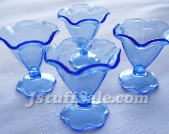 50 miniature parfait sundae glass ice cream cups (Blue)