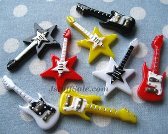 Guitar cabochon mix 8 pcs