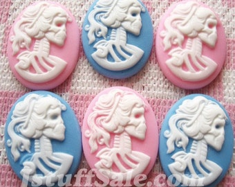 Lady skeleton cameo cabochons 6 pcs 20mm x 27mm (N07)