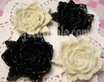 Gorgeous BIG Rose cabochons 4 pieces (Black & White) 40mm
