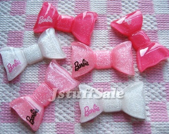 Barbie glitter pink & white bows 6 pieces (A179-3)