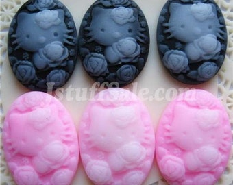 Oval cameo cabochons  Pink & Black (18mm x 25mm)