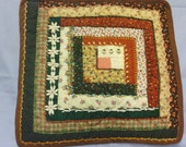 Green and Rust Crazy Quilted Log Cabin Pillow
