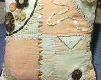 Chocolate and Peach Crazy Quilt Pillow