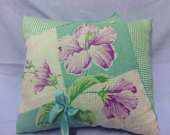 Green Teal Purple Flowers Hanky Pillow
