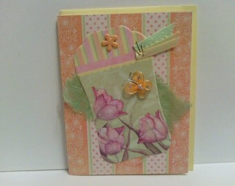 Set of 3 Spring Tulip Butterfly Flowers cards