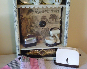 Vintage Black White Housewive's Heaven Shadowbox