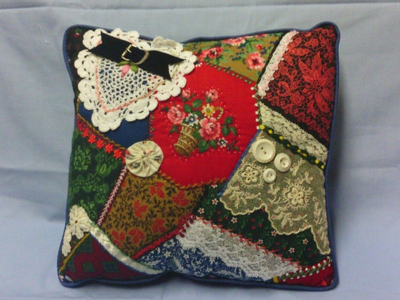 Victorian style Crazy Quilted Pillow