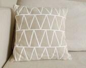 Natural Linen Triangles Pillow - 13 x 13 Cushion