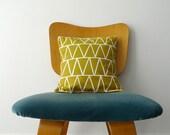 Mustard Triangles Pillow - Sunflower Yellow Green Linen