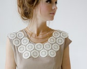 Lace & chain collar statement necklace - Haute Couture Sound of Music neck piece (in ivory and gold) LAST ONE