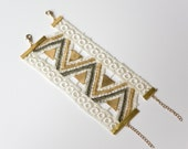 Lace bracelet - Aquarius - Ivory, gold and bronze lace with brass triangles