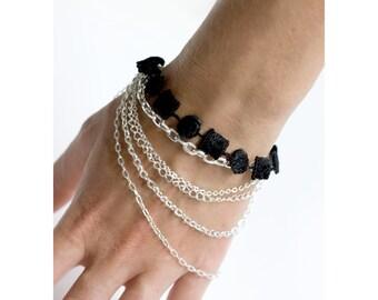 Lace bracelet - Multichain - Black lace with silver chain