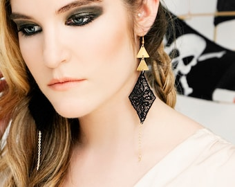 Lace earrings - Fast Forward - Black lace with brass triangles and gold chain