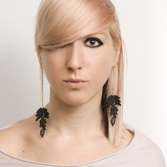 Tigerlily Fall leaves lace and chain asymmetrical earrings