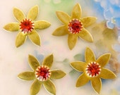 Orange HYACINTH SWAROVSKI Vintage Rhinestone FLOWER 15mm - 4pcs