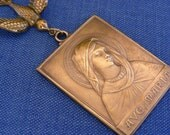Vintage Pendant  - Ave Maria -  Mother Mary Pendant - DIY Necklace - Statement Necklace - Vintage Brass Jewelry - handmade jewelry
