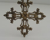 CROSS Pendant - Vintage Brass Stamping - Victorian Filigree - Large for Necklace - 2 pcs