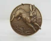 RABBIT Pendant  -  Large Brass Stamping -  Victorian Pendant - DIY Necklace