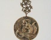 Vintage Pendant - SQUIRREL jewelry - DIY Necklace - Brass Pendant - handmade jewelry
