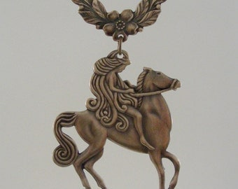 Lady Godiva on Horse - PENDANT Large  for Necklace - Vintage Brass - Handmade