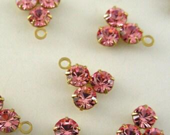 Pink Rhinestone Drops - Vintage SWAROVSKI Rhinestone Drops  - 1 Pair