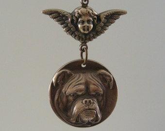 Vintage Pendant - Vintage Necklace - Bulldog jewelry - Bulldog necklace - Brass jewelry - handmade jewelry