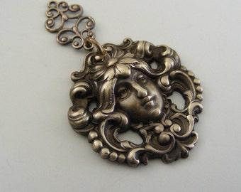Art Nouveau Pendant - Vintage Pendant - Brass Pendant - Mucha Jewelry - DIY Necklace - DIY Earrings - Handmade