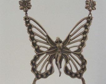 Vintage Pendant -  Butterfly Pendant -  Fairy Pendant - Vintage Brass - DIY Necklace - Handmade