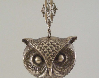Owl Pendant - Vintage Brass - Large for Necklace - Stamping - Handmade