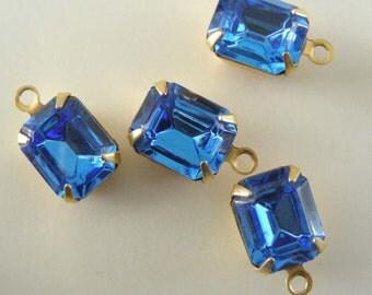 SAPPHIRE Blue Vintage SWAROVSKI RHINESTONE Drops 10x8mm 1 Pair
