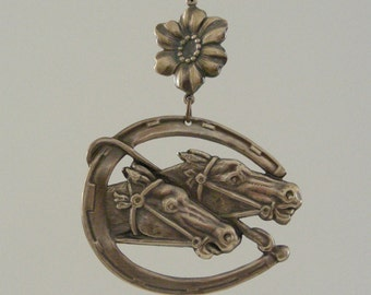 Pendant Horse and Lucky Horseshoe - Vintage Brass Large for Necklace - Handmade