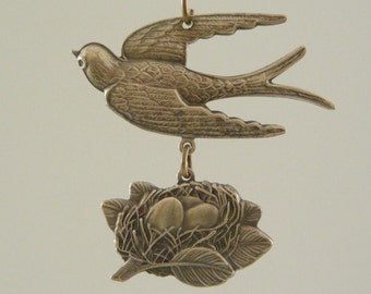 BIRD with NEST Pendant Vintage Brass for Necklace - Handmade