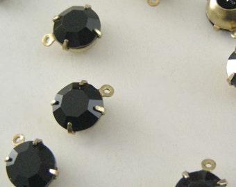 VINTAGE SWAROVSKI RHINESTONE Crystal Jet Black Round Drops 7.5mm - 4 pcs