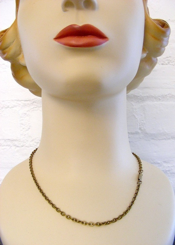 Necklace -  Vintage Brass 20 inch Cable Link Chain - Handmade